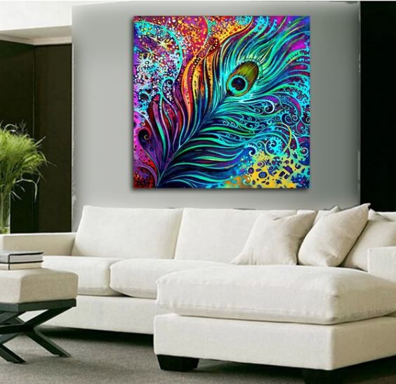 Peacock Feather Digital Canvas Printing without Frame AHDCP-x31