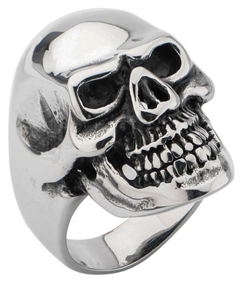 Inox Jewelry Darkened Silver Stainless Steel Grinning Skull Ring