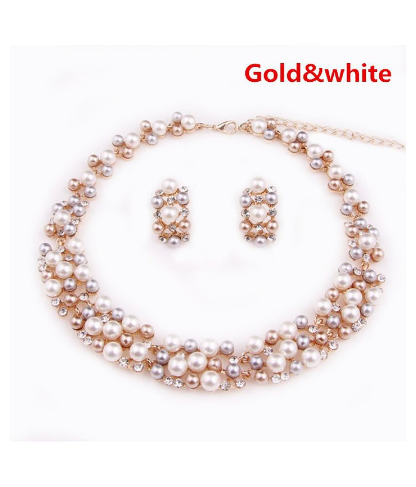 Gold Plated Elegant Bridal Necklace Earring