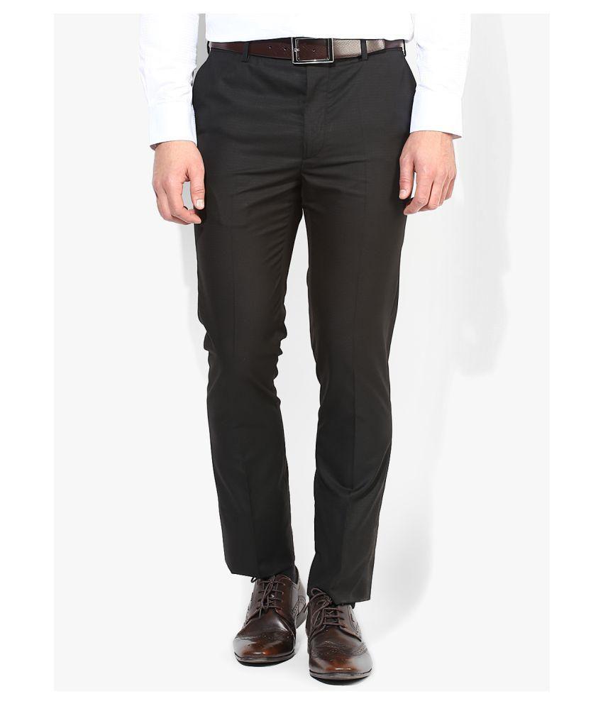 Style Black Regular -Fit Flat Trousers