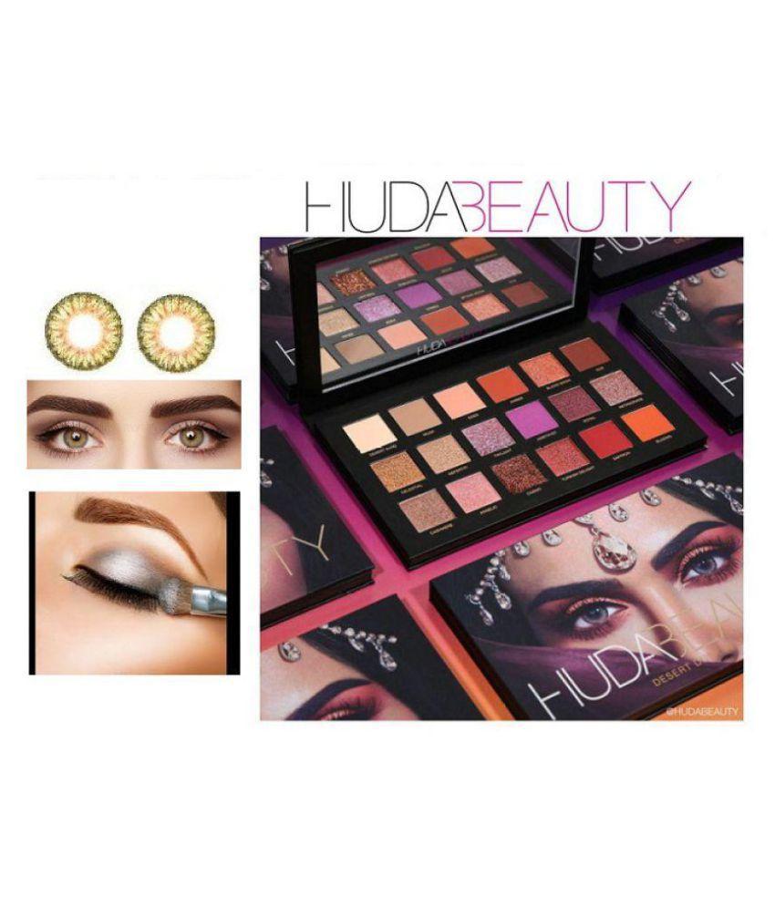 huda beauty pure hazel eye contact lenses desert dusk eyeshadow