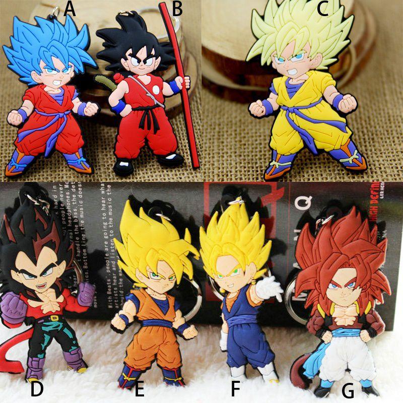 7 Style Dragon Ball PVC Keychain Key Ring Japanese Anime Dragonball Evolution Pendant Son Goku  Llavero Chaveiro
