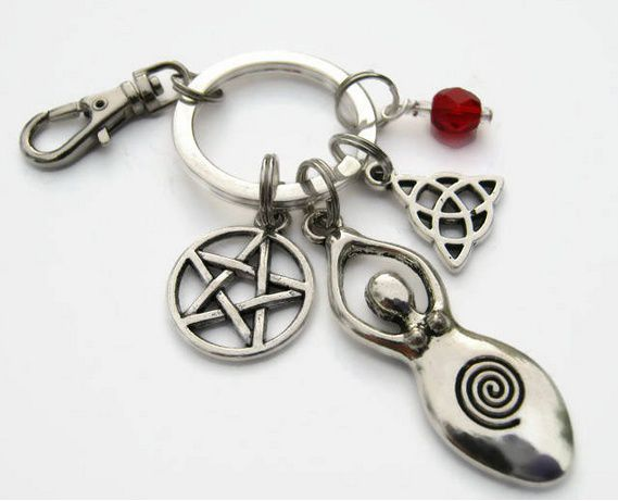Personalized Goddess Keychain, Personalized Zipper Pull, Witch Accessory, Pentacle Keychain Lanyard, Triquetra Keychain, Earth Mother Fertility, Pagan
