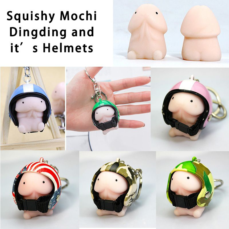 Squishy Ding Ding With C5 Helmet Cute Keychain