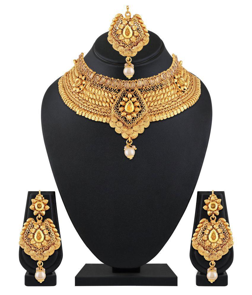 767d5ee8ffe27 Asmitta Jewellery Zinc Golden Choker Traditional Gold Plated Necklaces Set