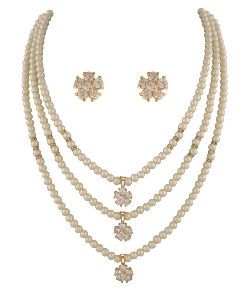 ClassiqueDesigner Jewellery Two Layer Pearl Flower Set