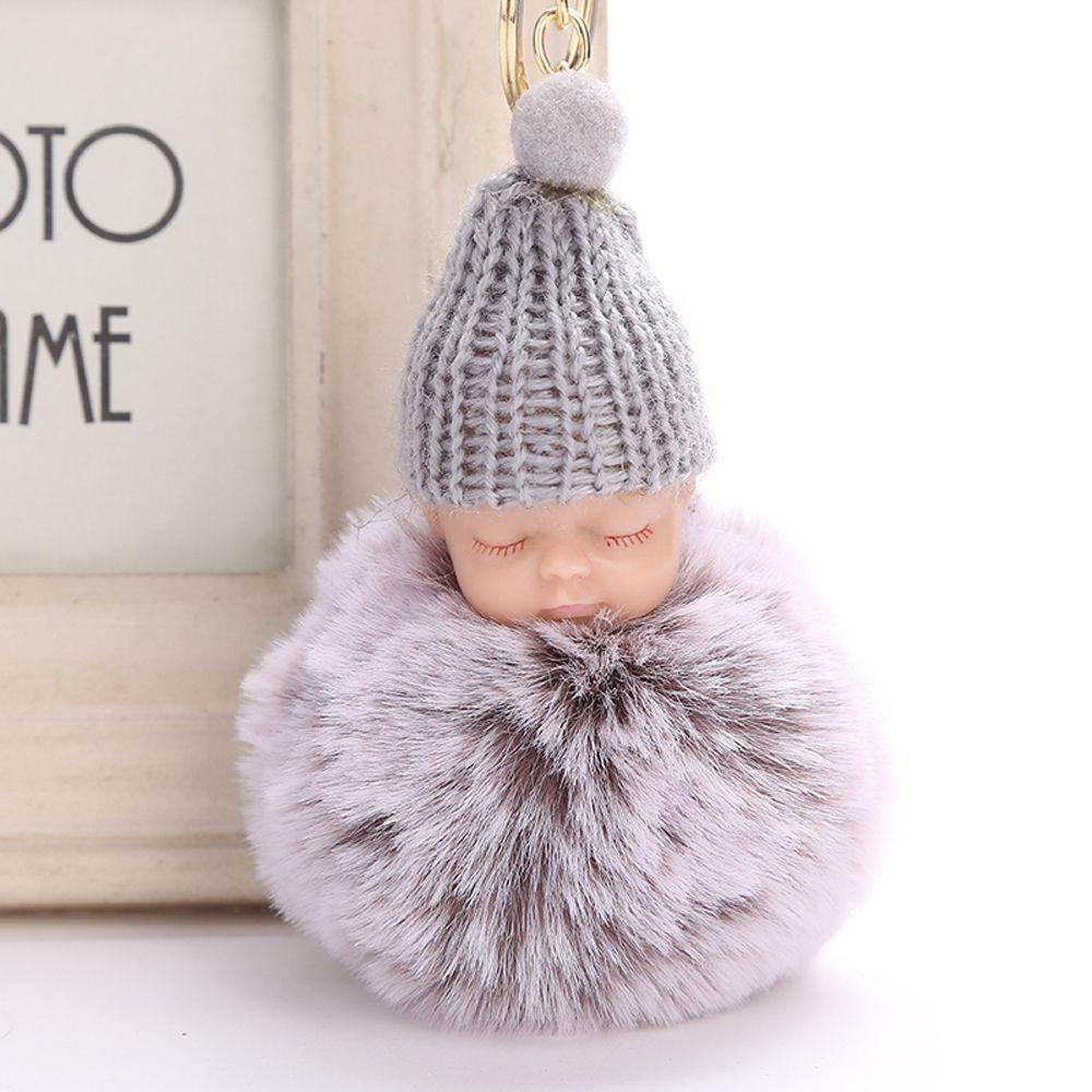Fluffy Faux Rabbit Fur Bag Car Pendant Plush Doll Toy Sleeping Baby Key Ring Knitted Hat Keychain Pompom Key Buckle