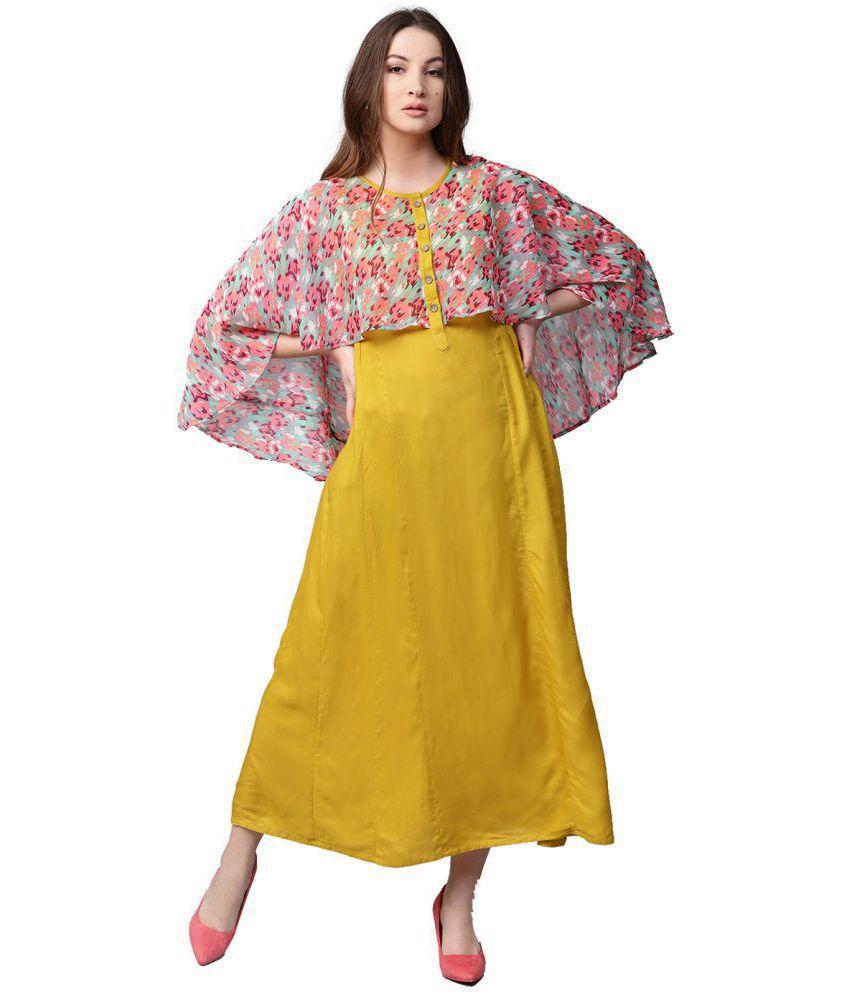 Jaipur Kurti Rayon Yellow Dresses