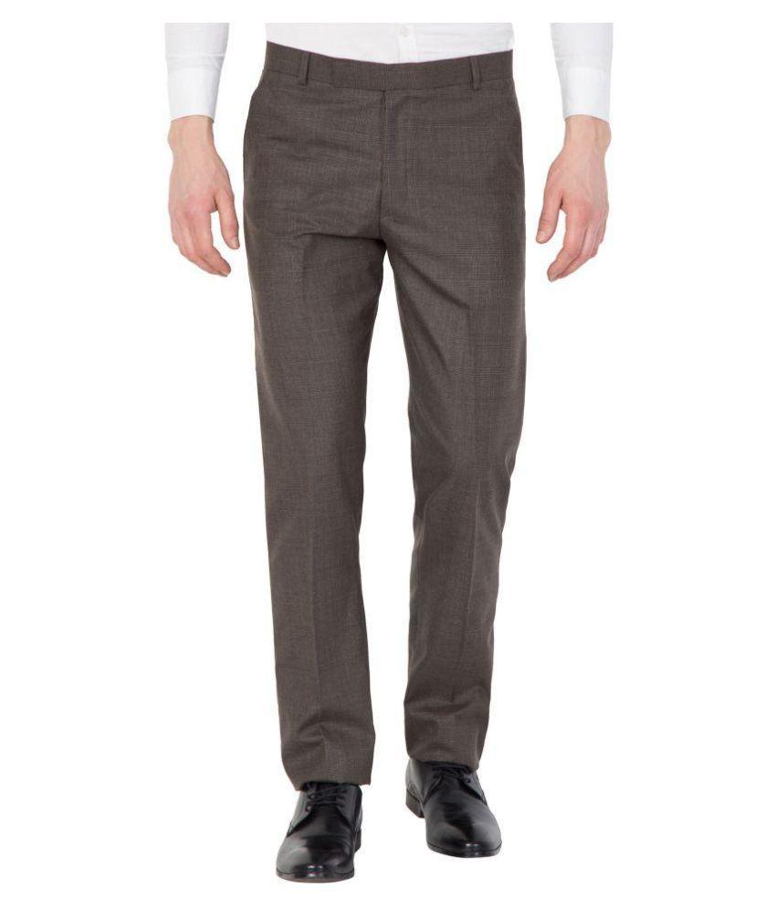 Tiger Grid Brown Slim -Fit Flat Trousers