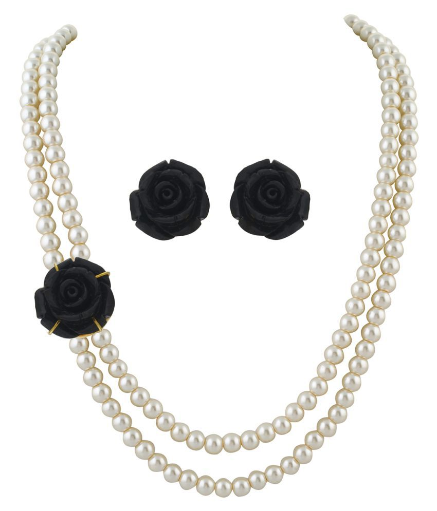 ClassiqueDesigner Jewellery Black Small Rose Pearl Set