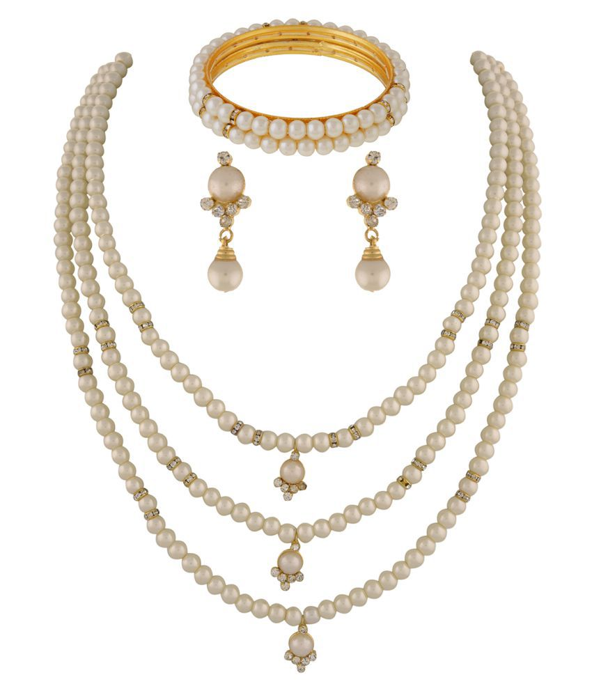 ClassiqueDesigner Jewellery Three Layer Pearl Set with Bangles