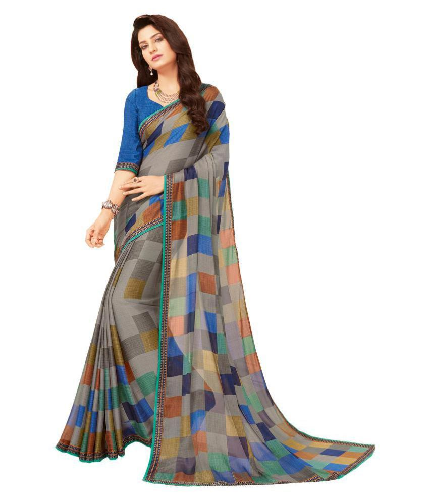 1e76e390d930e Dressy Grey and Beige Crepe Silk Saree - Buy Dressy Grey and Beige Crepe  Silk Saree Online at Low Price - Snapdeal.com