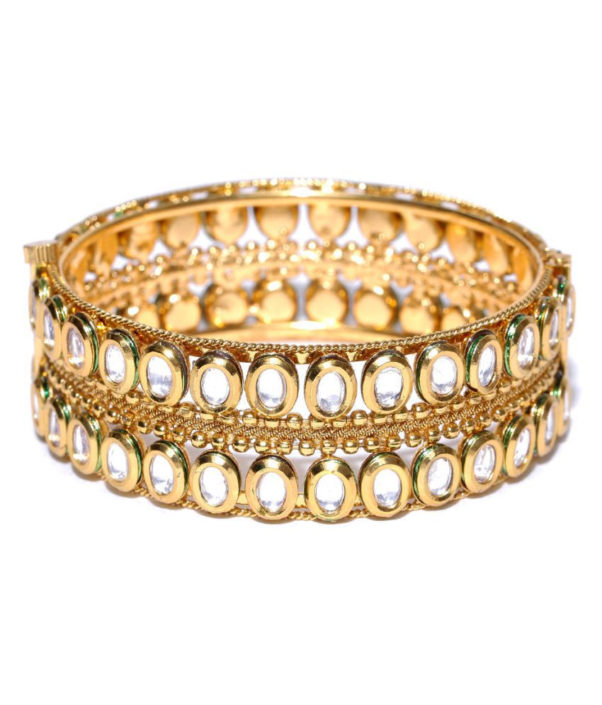 Priyaasi Gold-Plated Kundan-Studded Handcrafted Cuff Bracelet