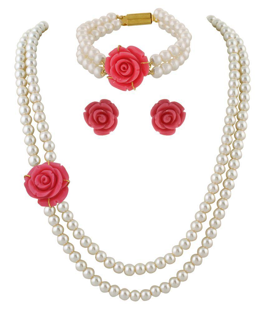 \nClassiqueDesigner Jewellery Pink Rose Pearl Set with Bracelet