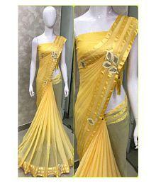 shiwaye Yellow Georgette Saree