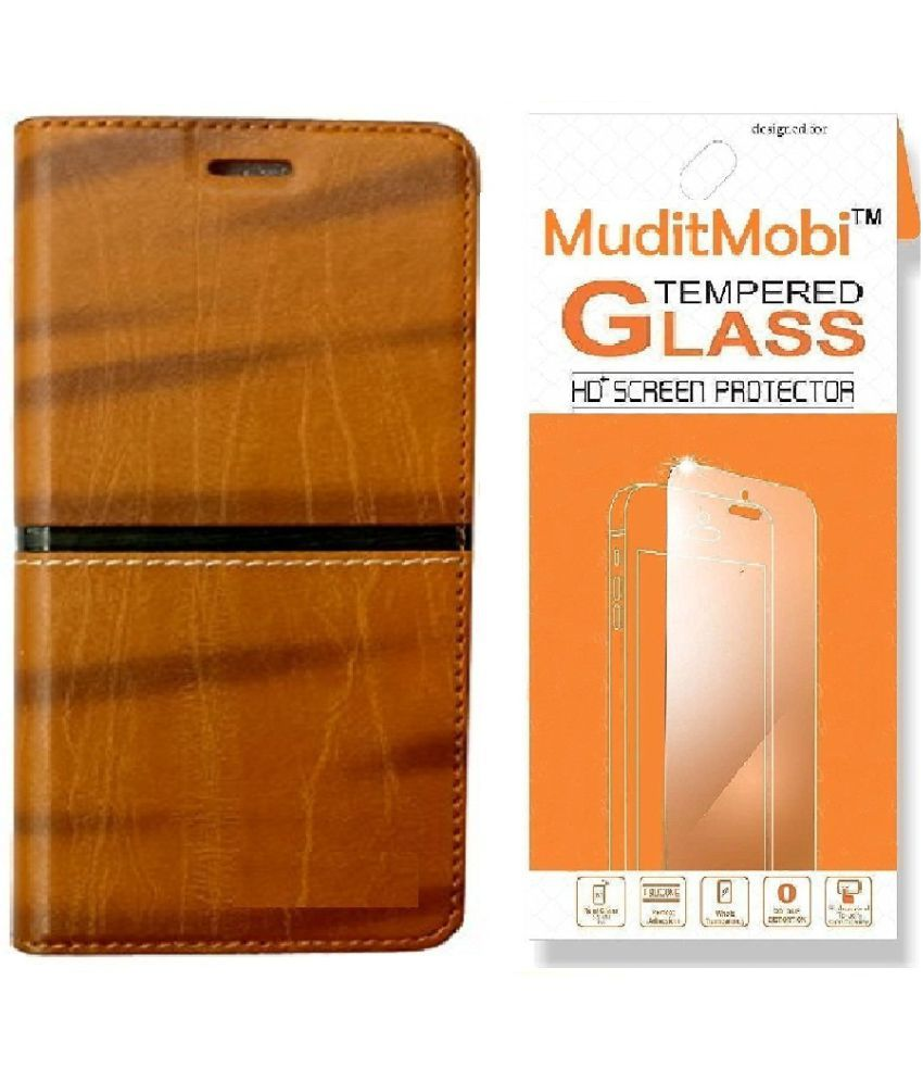 Xiaomi Redmi Y1 Cover Combo by MuditMobi RICH BOSS Flip Cover With Tempered Glass