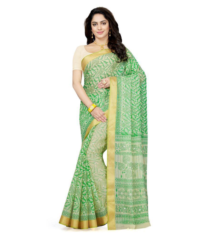 Saree Swarg Green Cotton Blend Saree