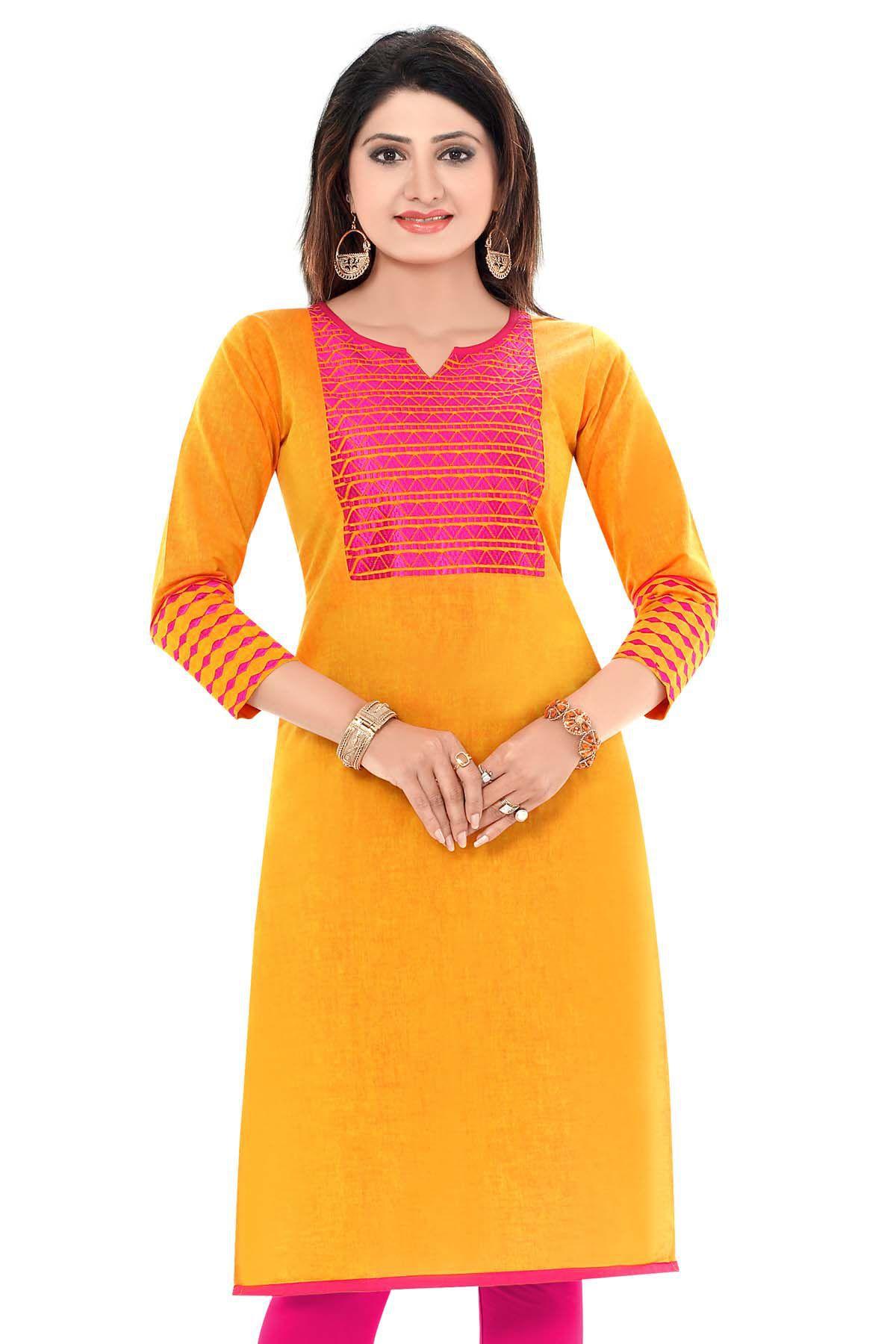 Yugale Yellow Cotton Straight Kurti