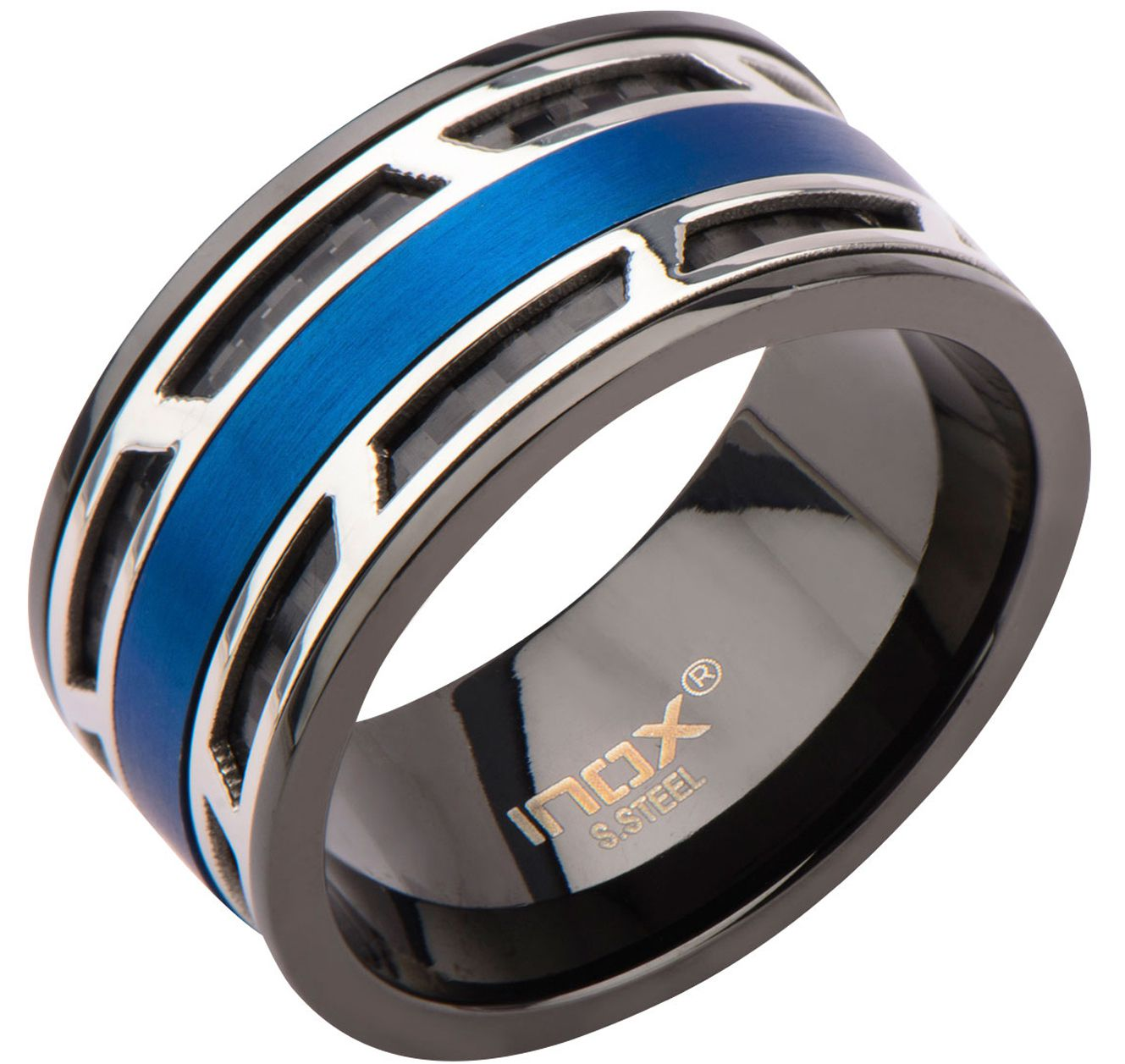 Inox Jewelry Silver, Blue and Black Stainless Steel with Inlaid Carbon Fiber Ring