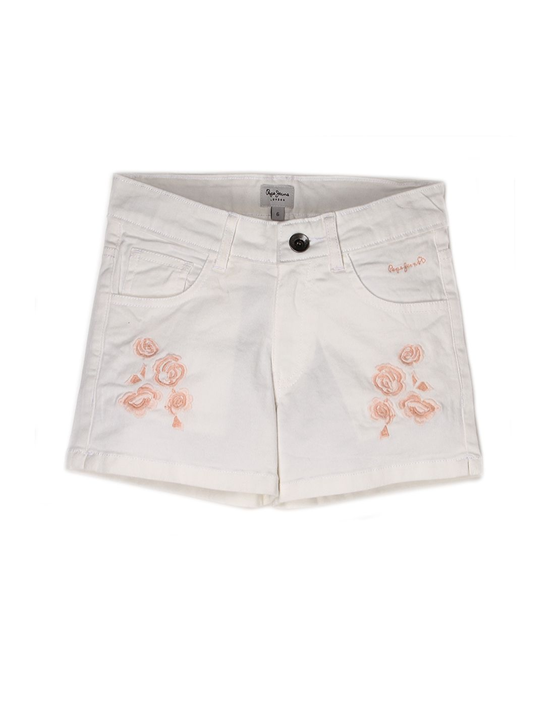 Pepe Jeans Girls Cotton  Regular Casual White Short