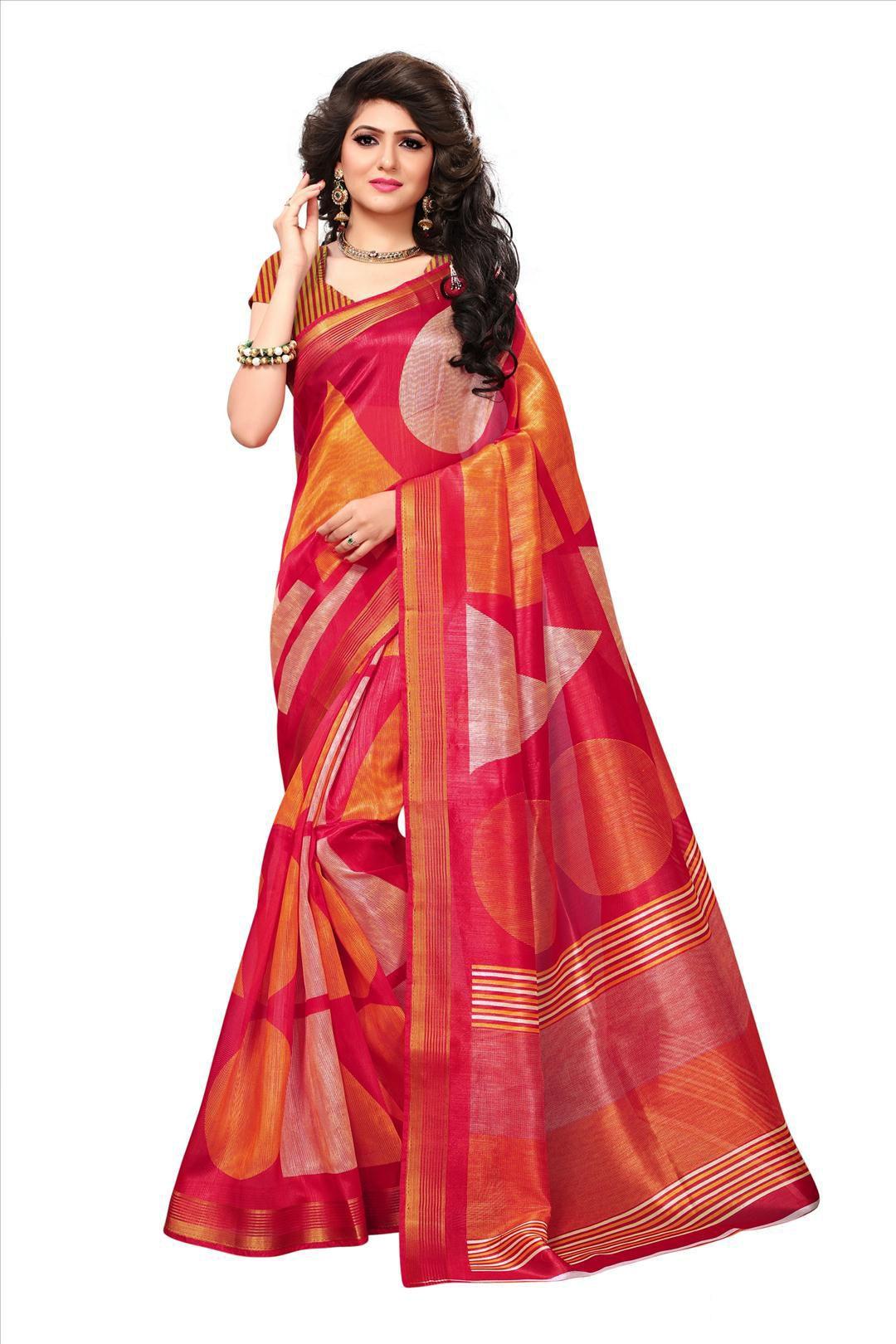 Winza Designer Red and Orange Bhagalpuri Silk Saree