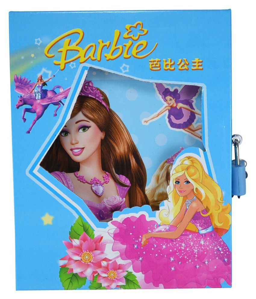 Aarvi Barbie Character Diary With Lock Case And Key Birthday Return Gift For Kids Blue