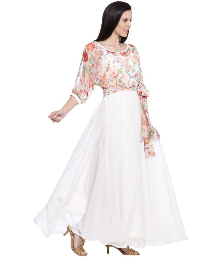 a421f7c5dd1 Just Wow Georgette White Fit And Flare Dress - Buy Just Wow ...