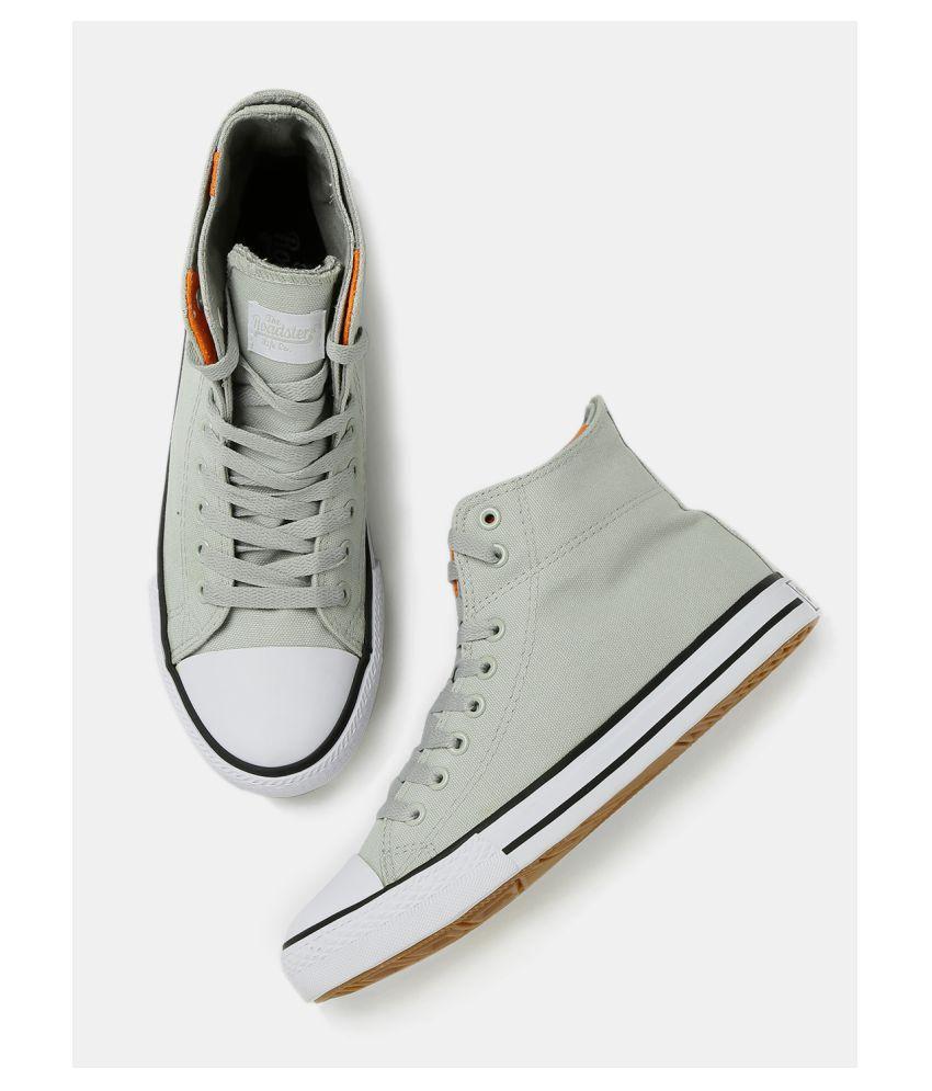 Buy Roadster Men High-Top Sneakers Gray