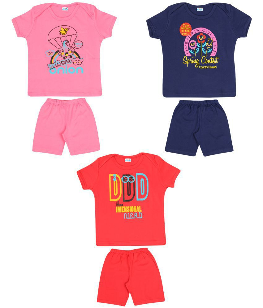 Dongli Boys Cotton Unisex Half sleeve Tshirts and shorts set (Pack of 3)