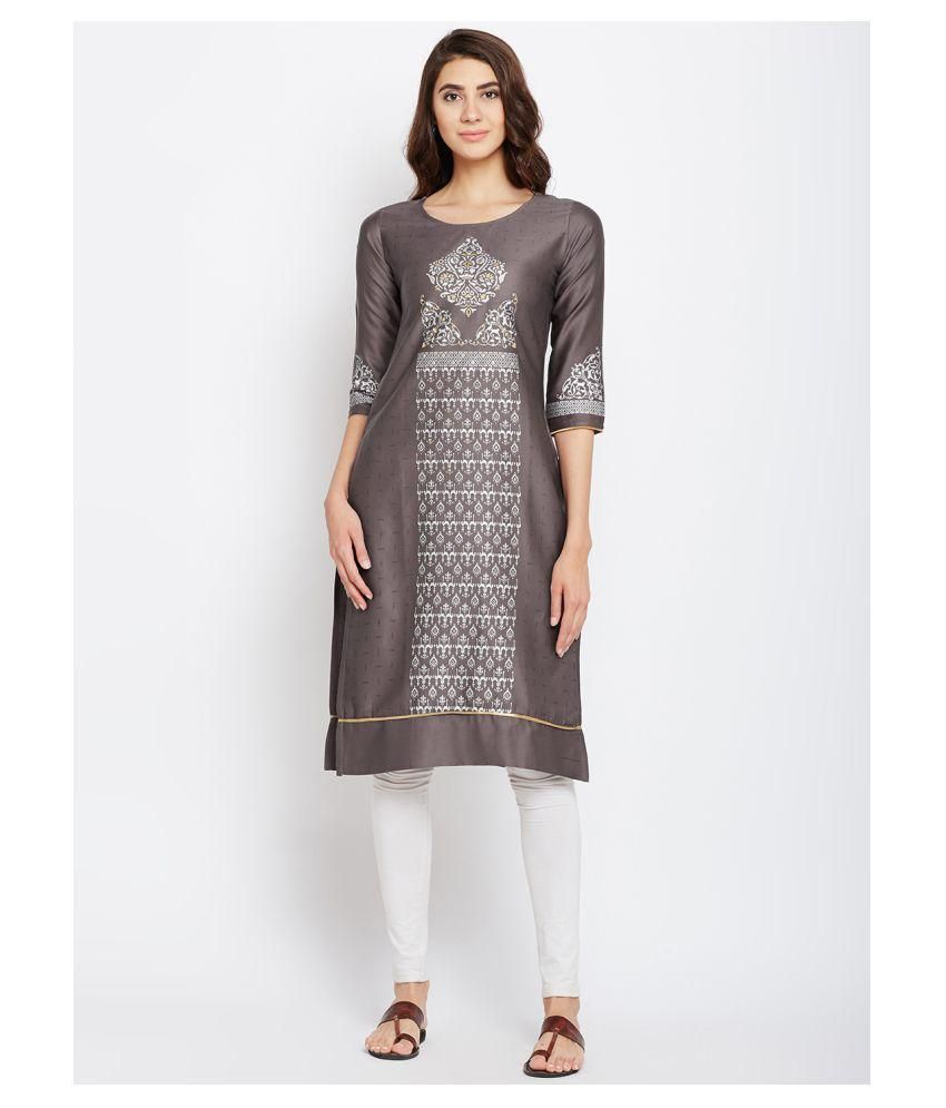 Span Brown Satin Straight Kurti
