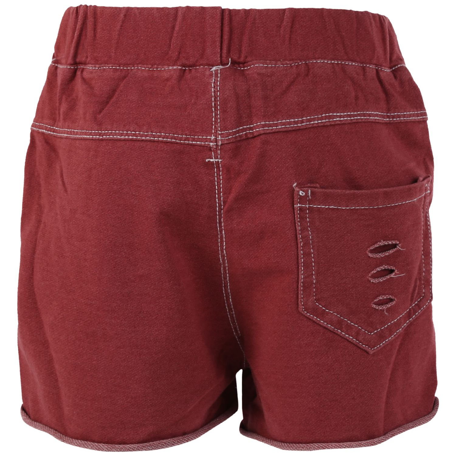 Blisara Girls Jeans Style Logo Maroon Short Pant (Size Suitable for 3 to 4 years)