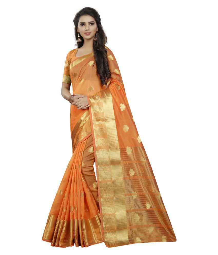 LATEST FASHION DEALS Orange Cotton Silk Saree