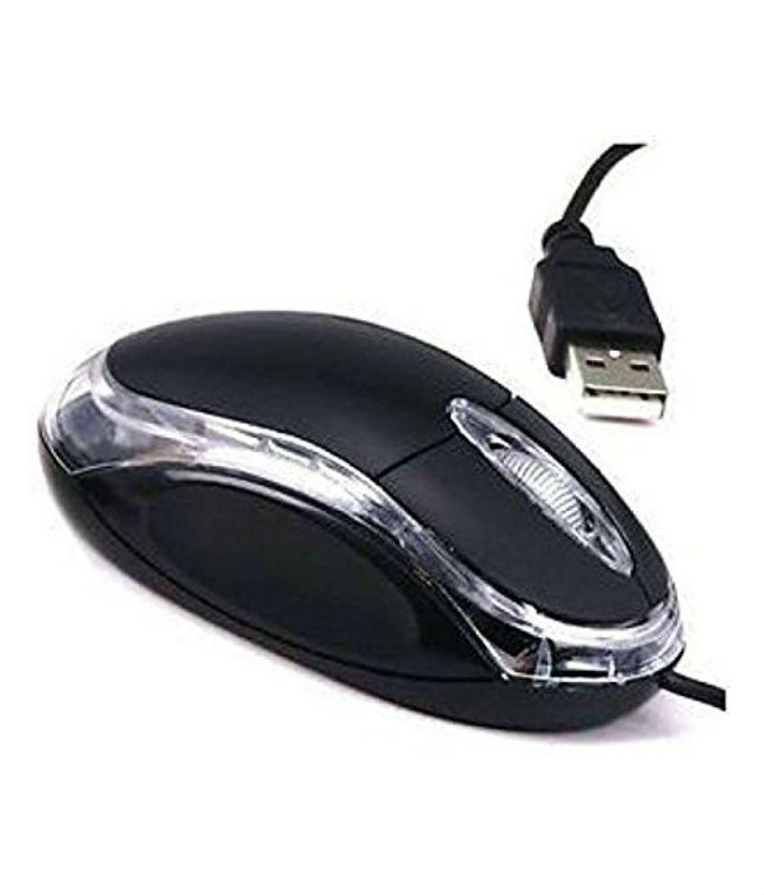 Terabyte Optical USB Wired Mouse (Black) For Laptops & Desktops