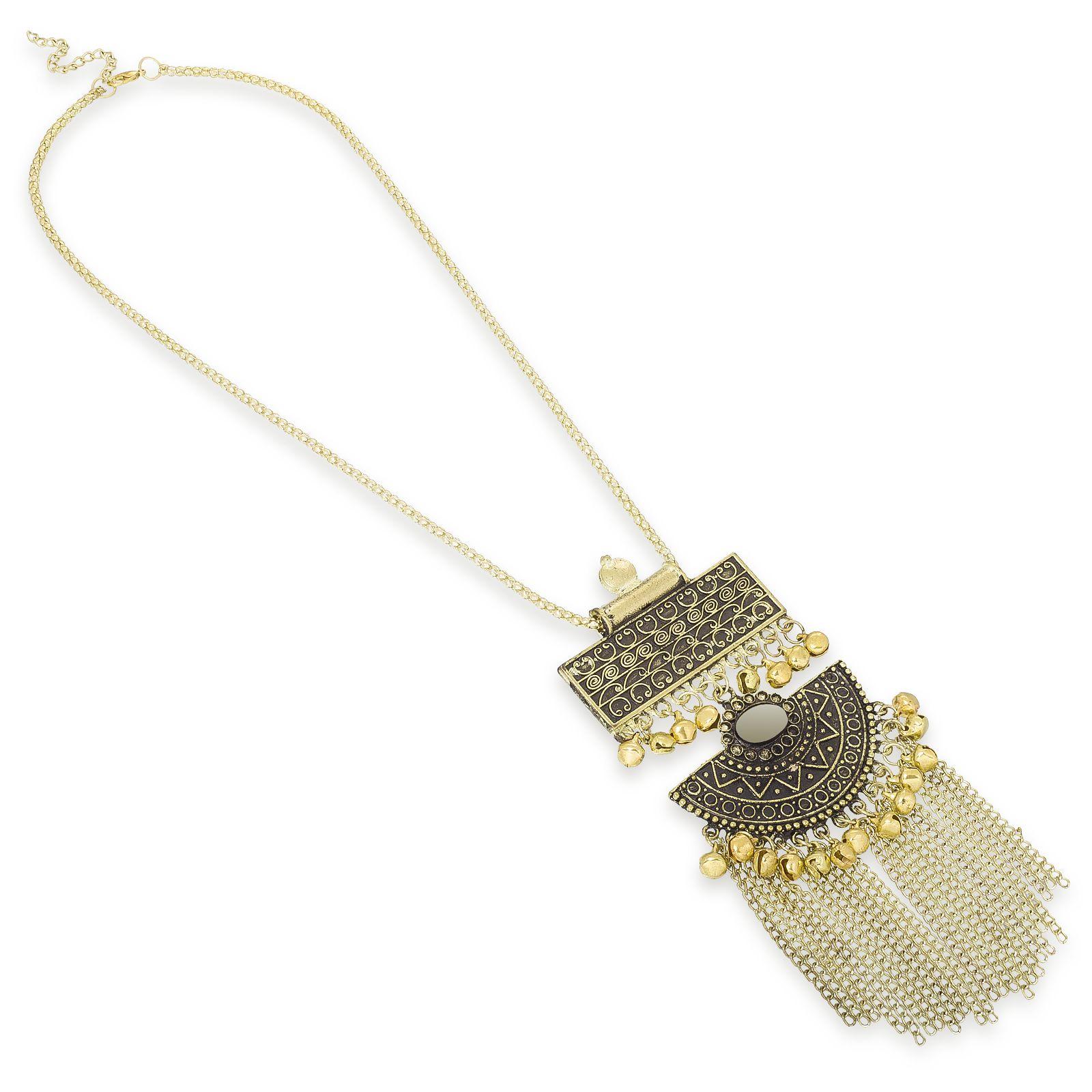 Aadita Afghani Designer Turkish Style Vintage Oxidised German Silver Chandbali Tribal Necklace Pendant Boho Gypsy