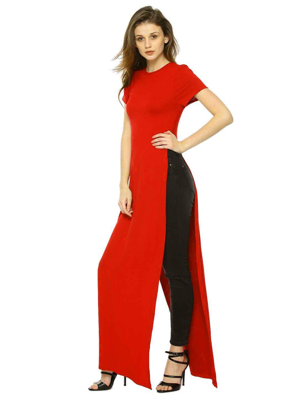 15675865167129 Fabrange Red High Slit Polyester Maxi Top - Buy Fabrange Red High ...