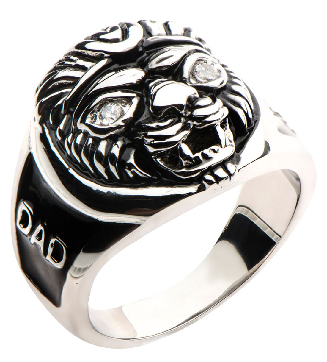 Inox Jewelry Black and Silver Stainless Steel Lion's Head DAD Ring