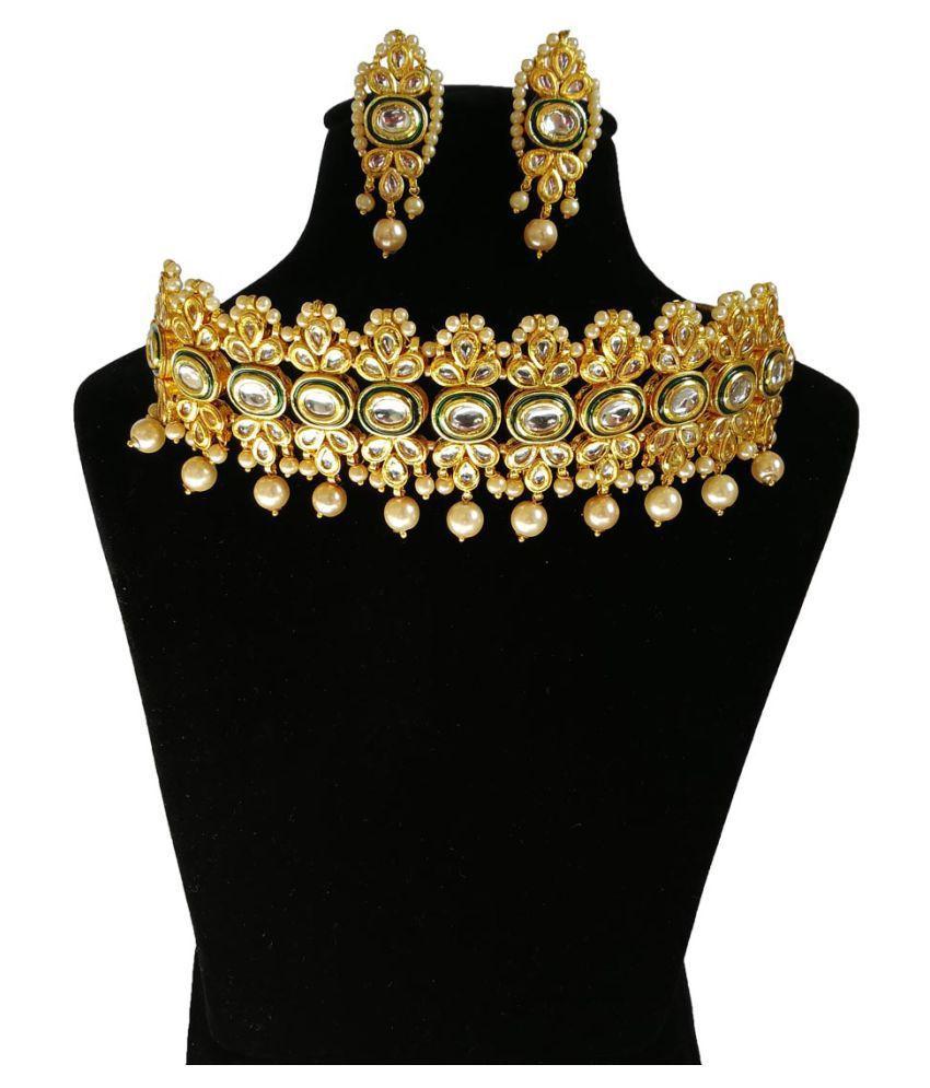 Finekraft Meena Kundan Bridal Wedding Designer Choker Necklace Jewelry