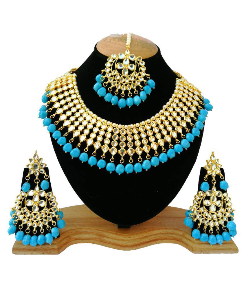 Fashion Jewelry Meena Kundan Simple Dress Wear Gold Plated Handmade Look Jewelry Maang Tika Set