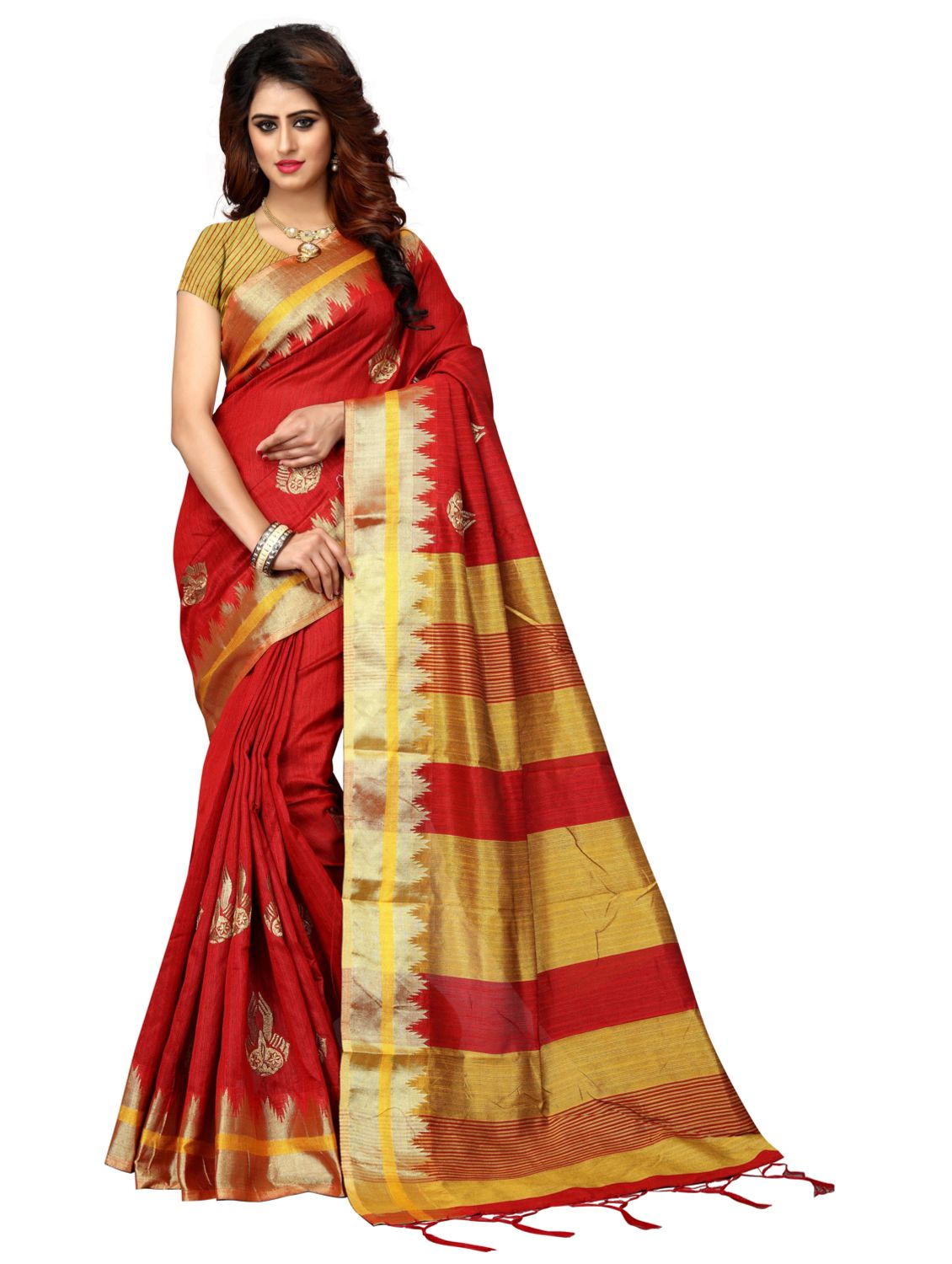 RJ Trandz Red Silk Saree