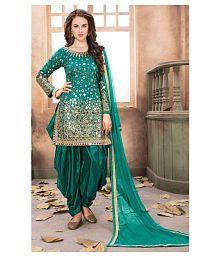 SareeShop Designer SareeS Green Georgette Straight Semi-Stitched Suit
