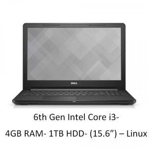 Dell Vostro 3568 Notebook  6th Gen Intel Core i3  4 GB RAM  1TB HDD  39.62cm  15.6   Linux   Black