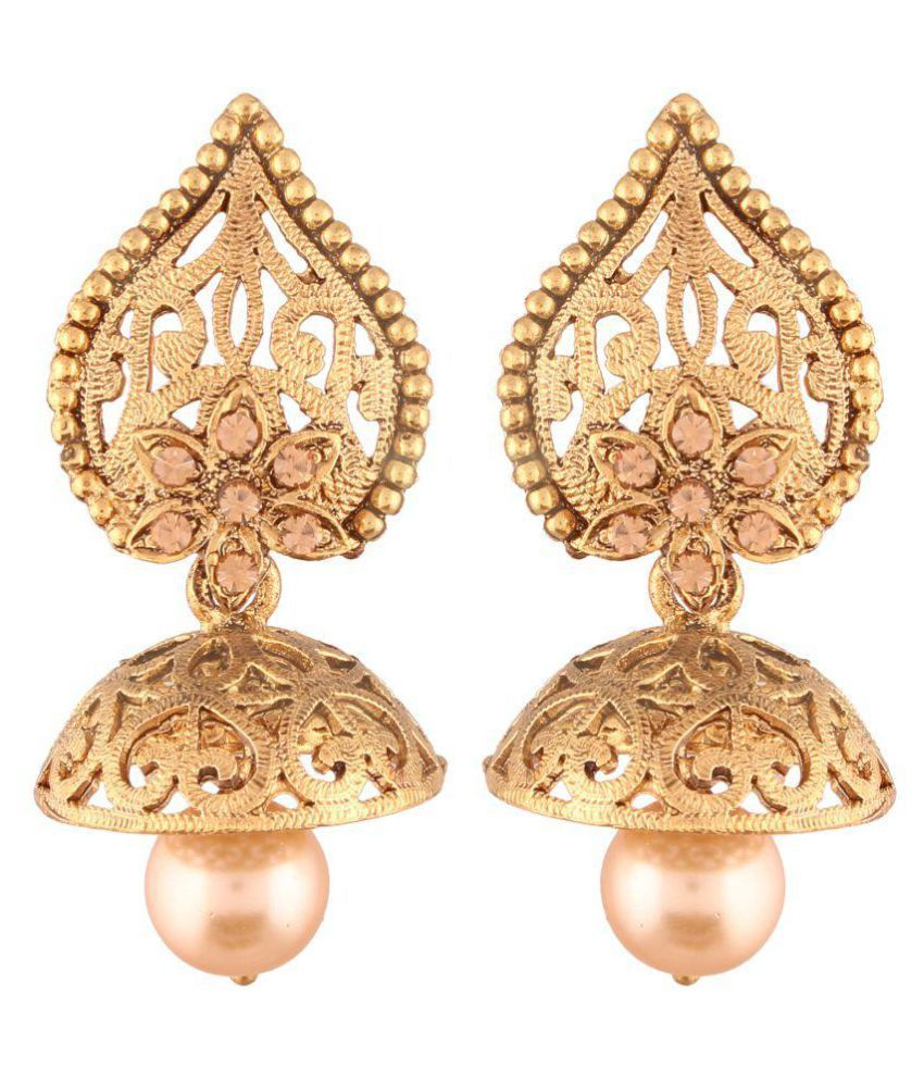 I Jewels High Gold Plated Jhumki/Jhumkas Earrings for Women (E2431FL)