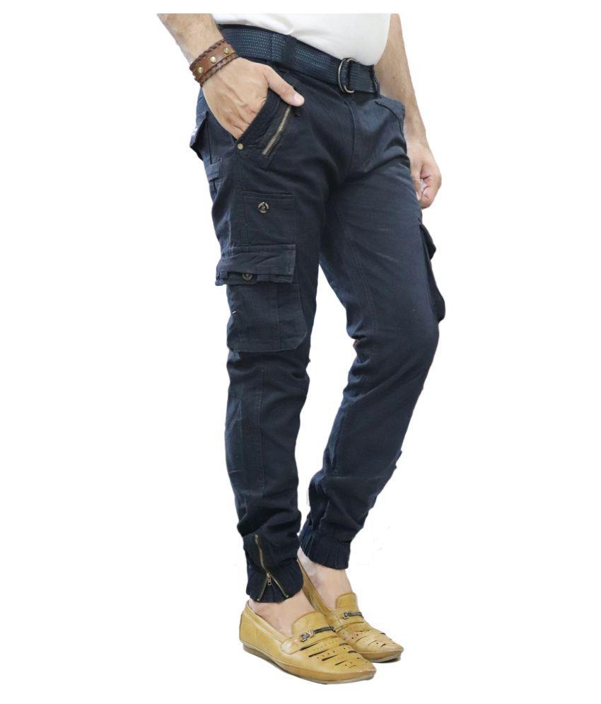 POOL CLUB Dark Blue Regular -Fit Flat Cargos