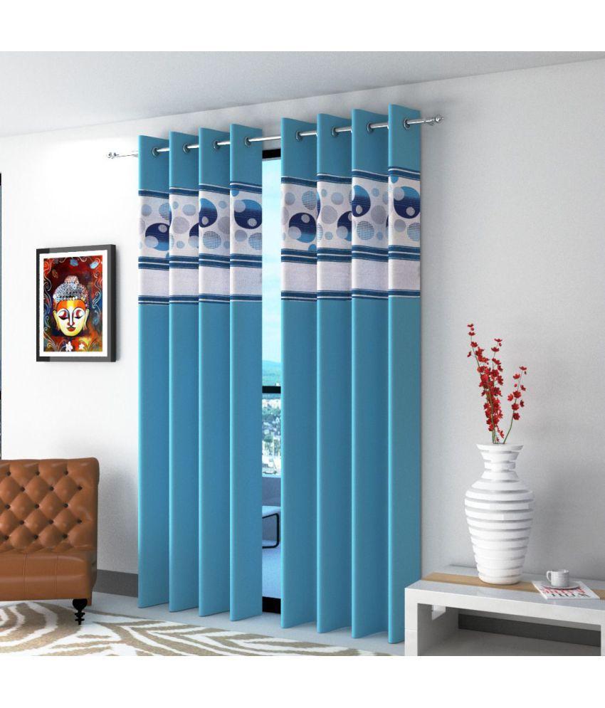 Shri Shyam Furnishing Set of 2 Window Eyelet Curtains Printed Multi Color