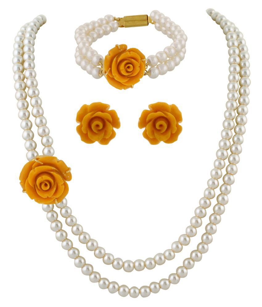 ClassiqueDesigner Jewellery Yellow Rose Pearl Set with Bracelet