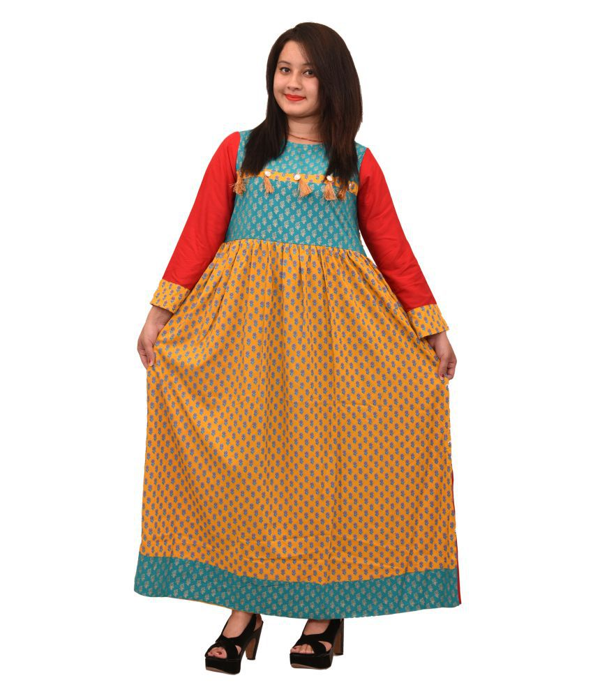 N2 Yellow Cotton Straight Kurti