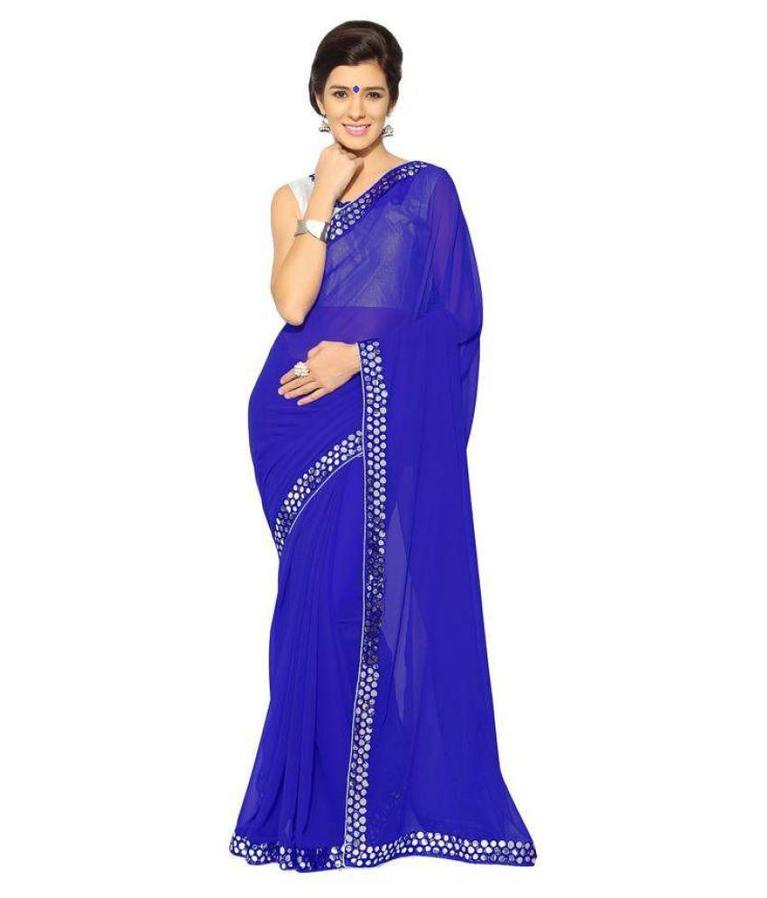 Nena Fashion Blue Georgette Saree