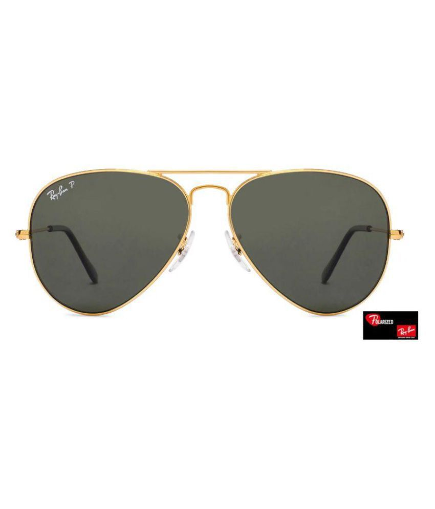 6a8dfaf9c ... Ray Ban Sunglasses Green Aviator Sunglasses ( aviator black glass  golden frame ) ...