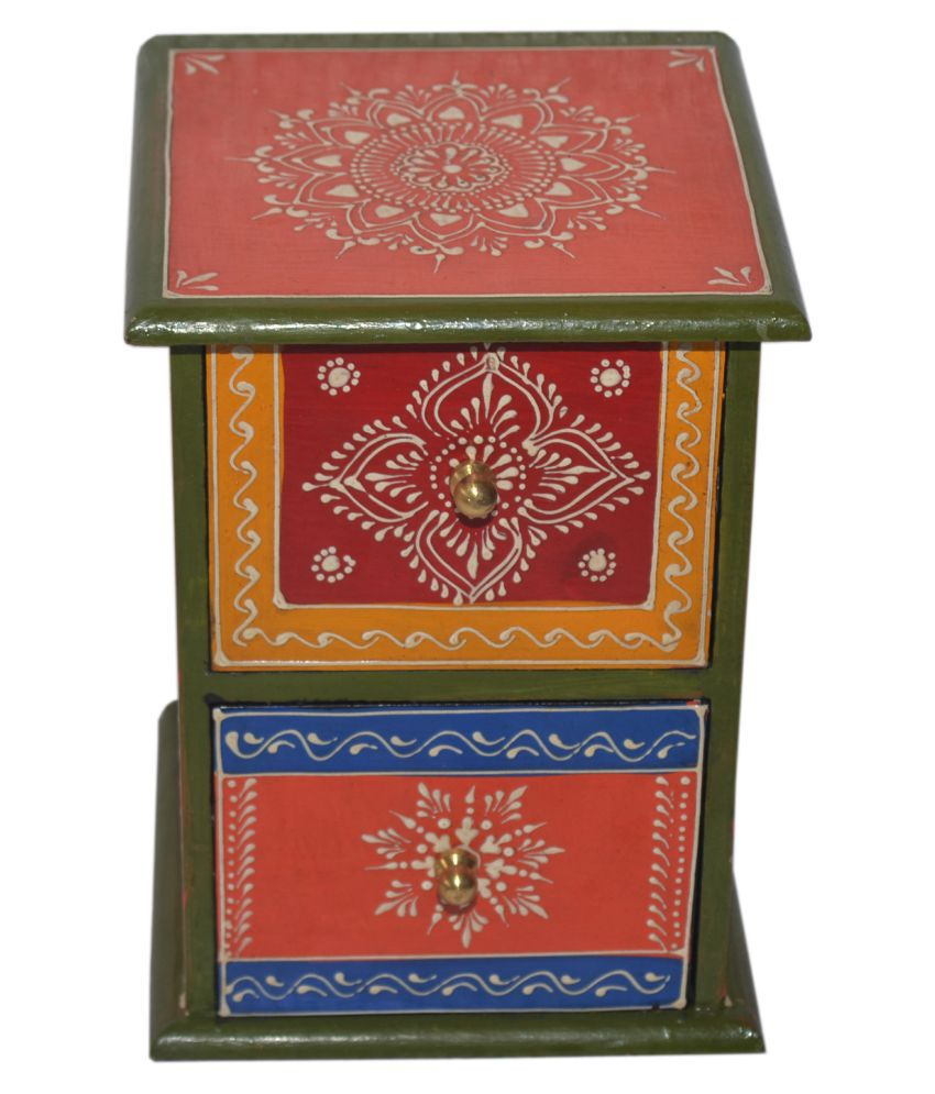 Wooden Multicolor Hand Painted 2 Drawer Box Vertical