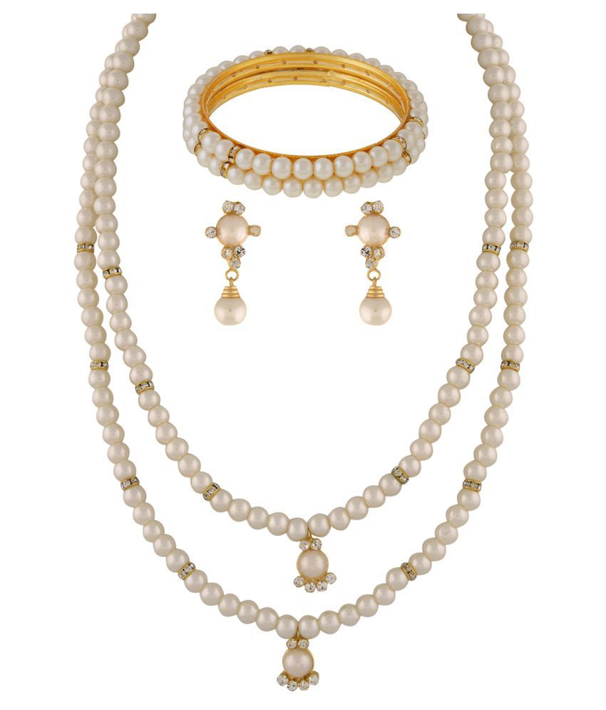\nClassiqueDesigner Jewellery Two Layer Pearl Set with Bangles